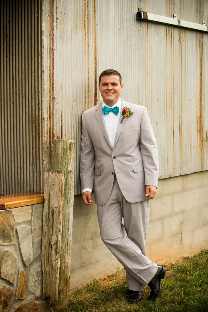 Light Gray Suit with Teal Bow Tie