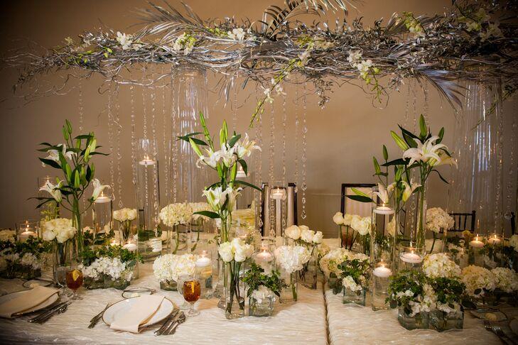 Modern romantic hanging branch centerpieces