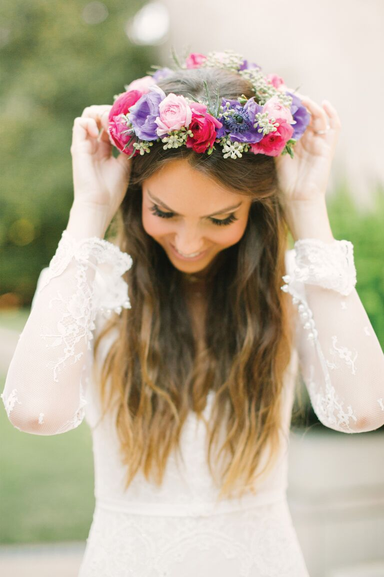 Floral headband for bride