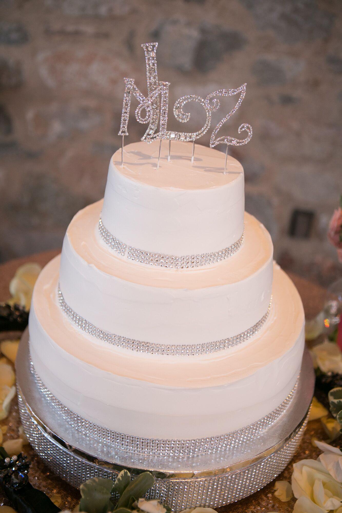 Rhinestone Embellished White Modern Wedding Cake