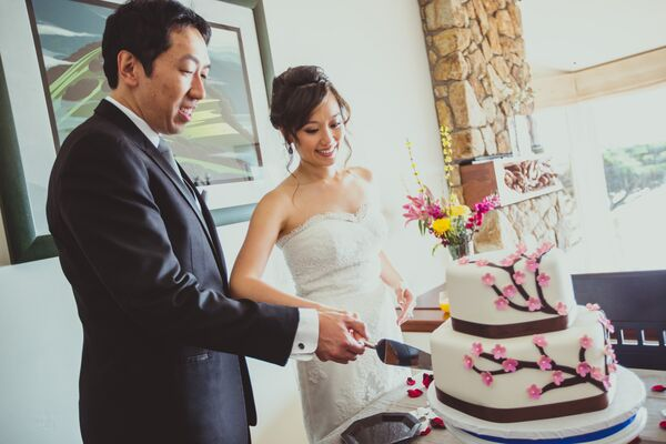 Married Couple Cutting Wedding Cake