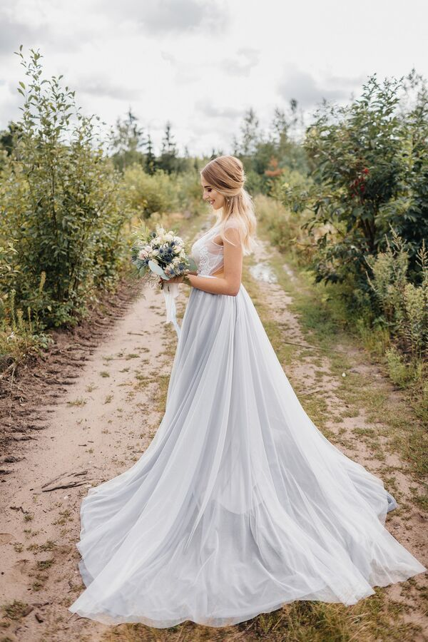 Blue Tulle Wedding Gown
