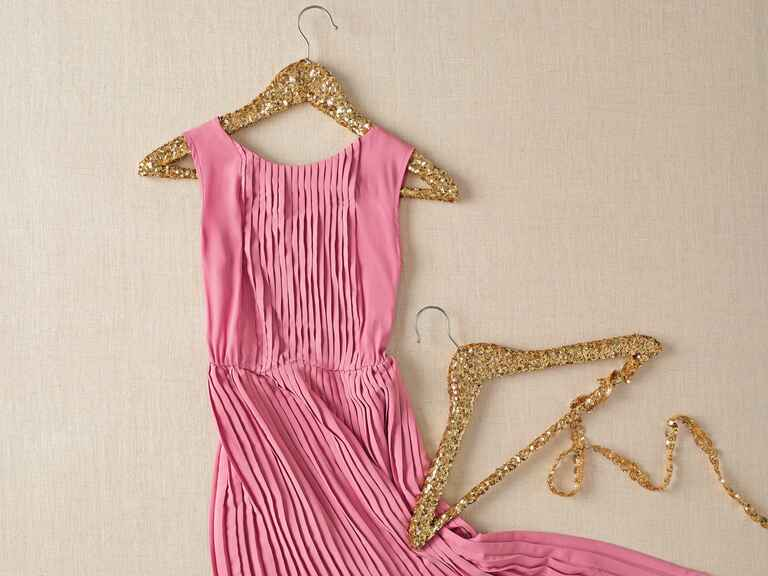Gold sequin bridesmaids dress hangers