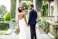 Celia Kelly (30 and a manager at ESPN) and Terrell Bouza (30 and a producer at ESPN) planned an intimate, bohemian wedding with an eye-catching palett