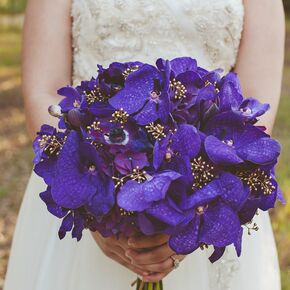Purple Orchid And Anemone Bouquets