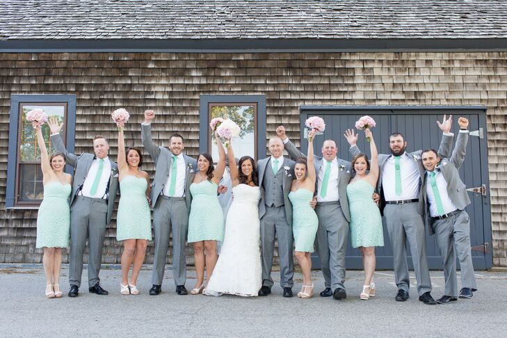 mint and gray wedding party attire