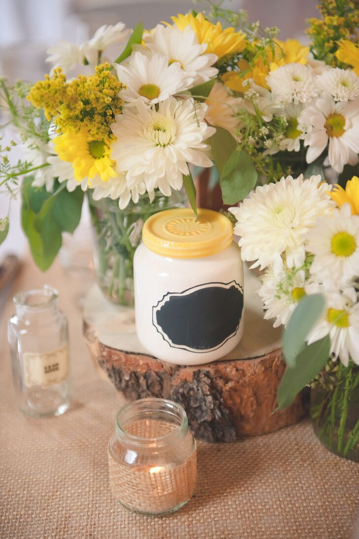 Rustic White And Yellow Centerpieces