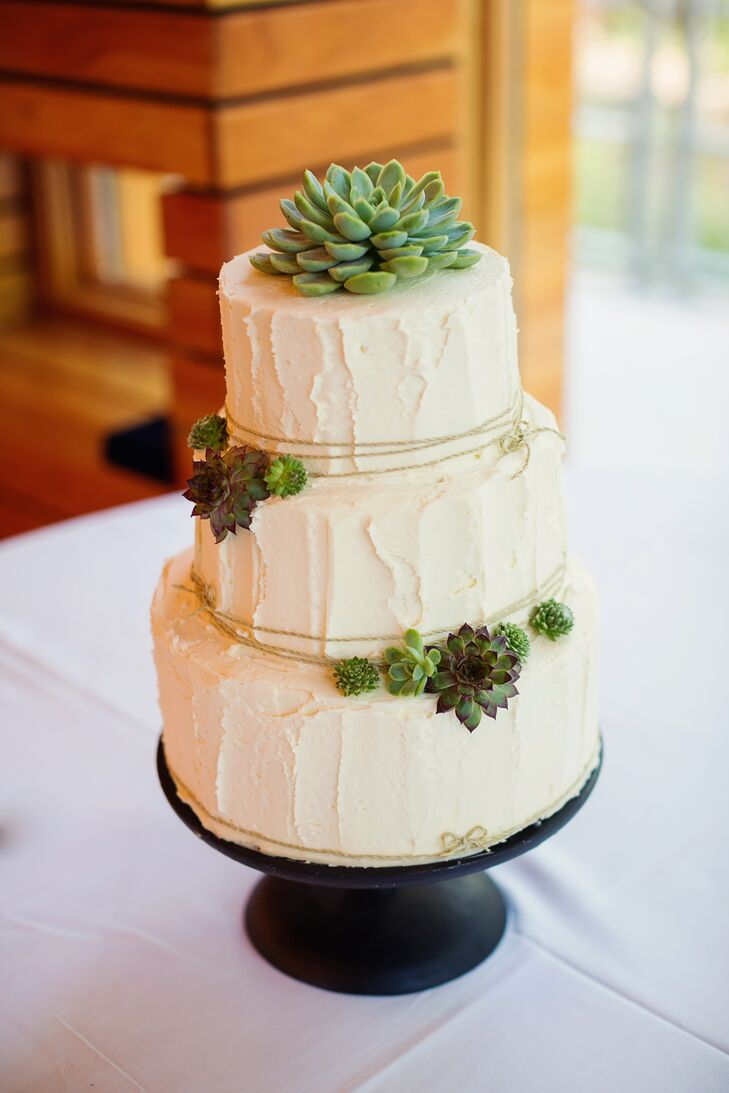 Buttercream Wedding Cake With Succulent Detail