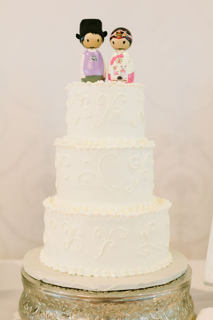 Cake Topper in Traditional Korean Outfits on Classic White Wedding Cake
