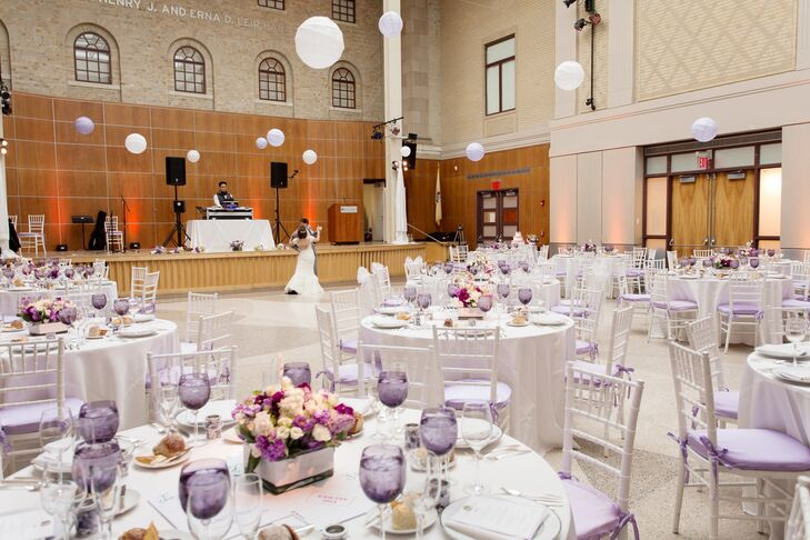 Sara and Jamie's indoor reception took place at the Montclair Art Museum in Montclair, New Jersey. Purple and white decor reigned at the celebration.