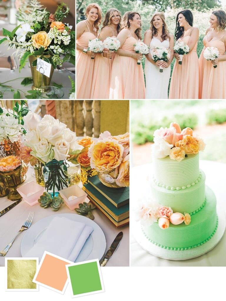 Gold, peach and green wedding color palette