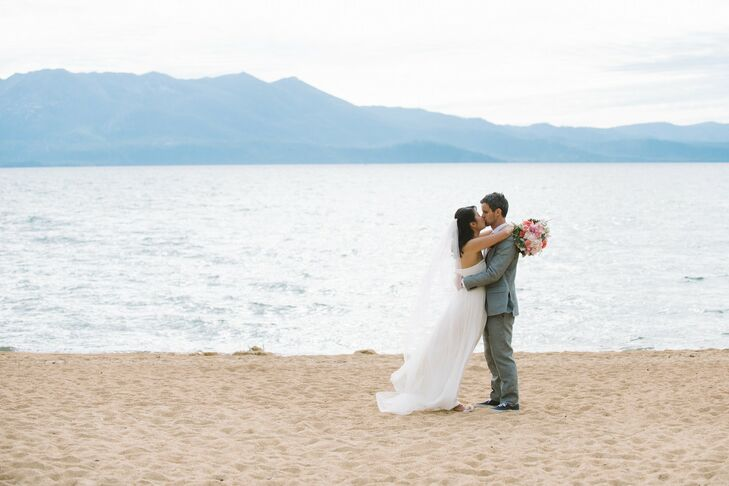 For their wedding in South Lake Tahoe, Stephanie and Daniel highlighted the cheerful vibe of the day with a palette of bright colors, lush blooms and
