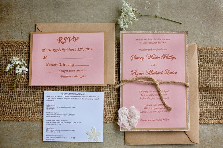 Stacey made each wedding invitation by hand, cutting each layer of material for the flowers and tying every single invitation with twine to top it all off.
