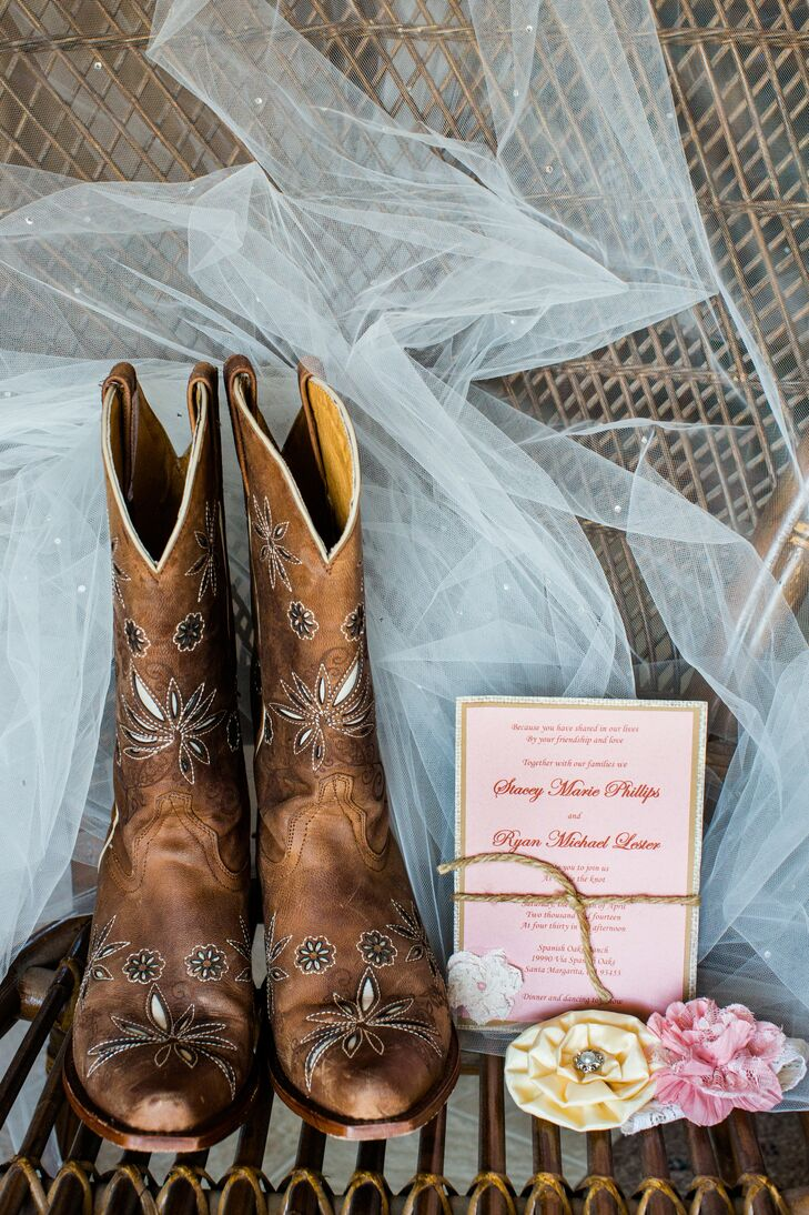 Bridal Boots, Veil and Invitation