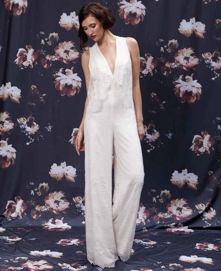 Fall 2016 Ivy & Aster Chantilly lace v-neck jumpsuit with back cape