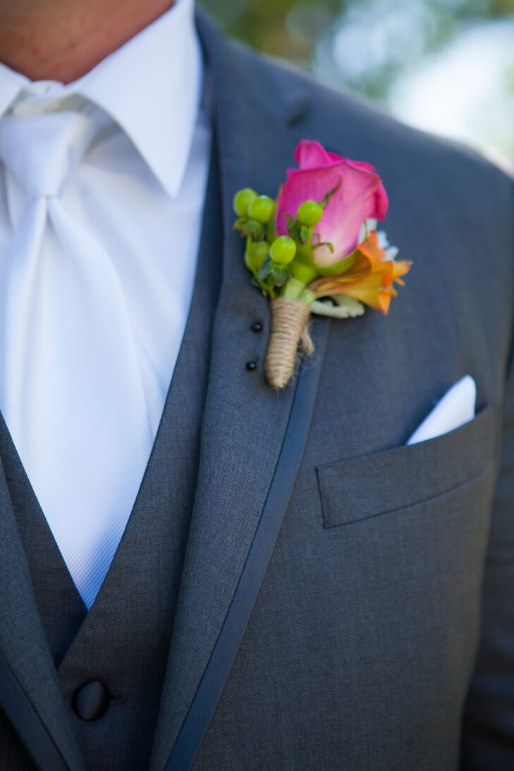 Purple Tulip Boutonniere on Jacket