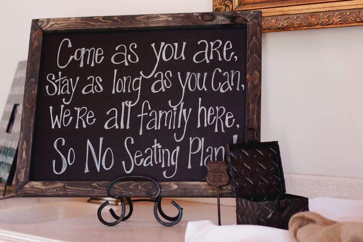 Seating Arrangement Black Chalkboard Sign