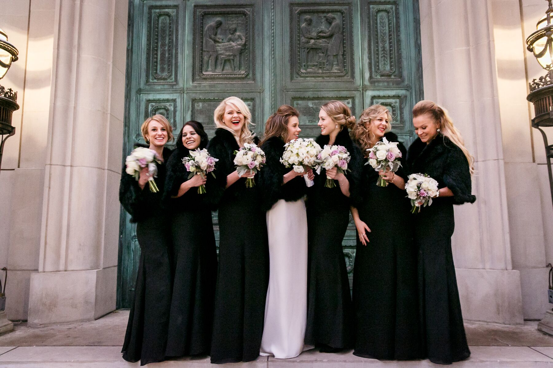 Black Bridesmaid Dresses With Fur Wraps