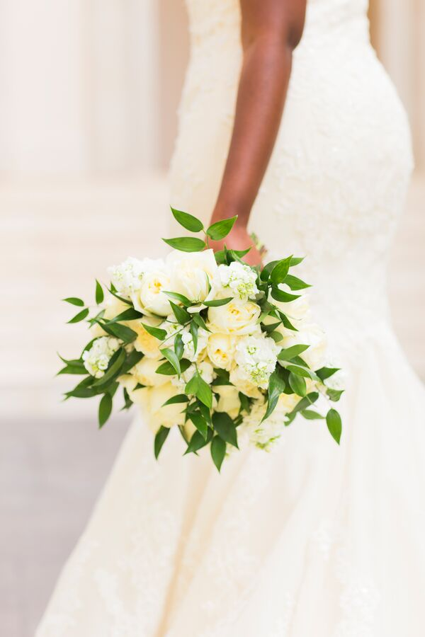 Pale yellow wedding flower arrangements all white bouquet with exposed greenery mightylinksfo
