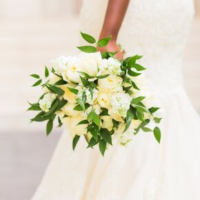 Yellow wedding bouquets all white bouquet with exposed greenery mightylinksfo Image collections