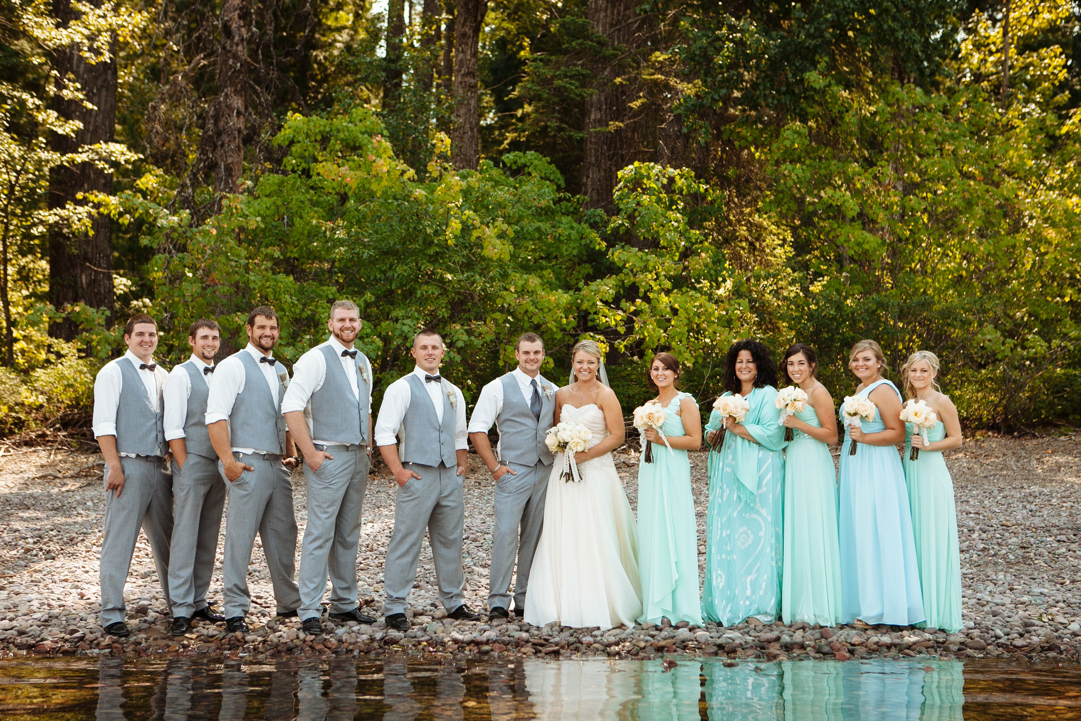 Turquoise Bridesmaid Dresses And Gray Groomsmen Suits