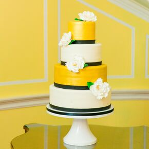 Modern Yellow And Ivory Cake