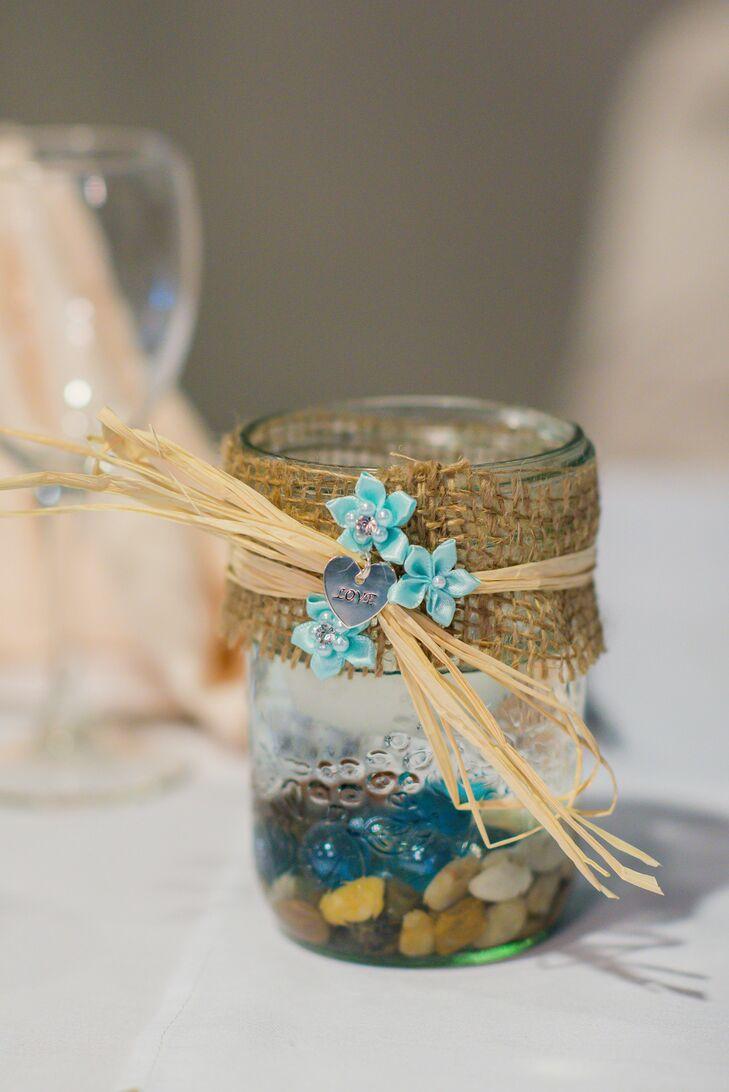 burlap and mason jar centerpieces