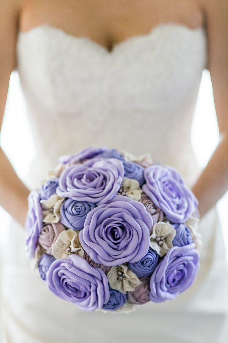 Purple fabric flower bouquet izmirmasajfo