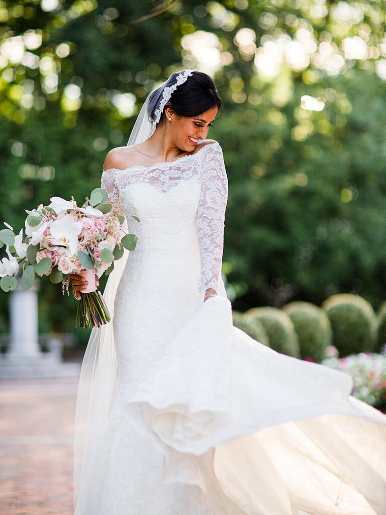 Lace Dennis Basso wedding gown with custom off-the-shoulder lace bolero