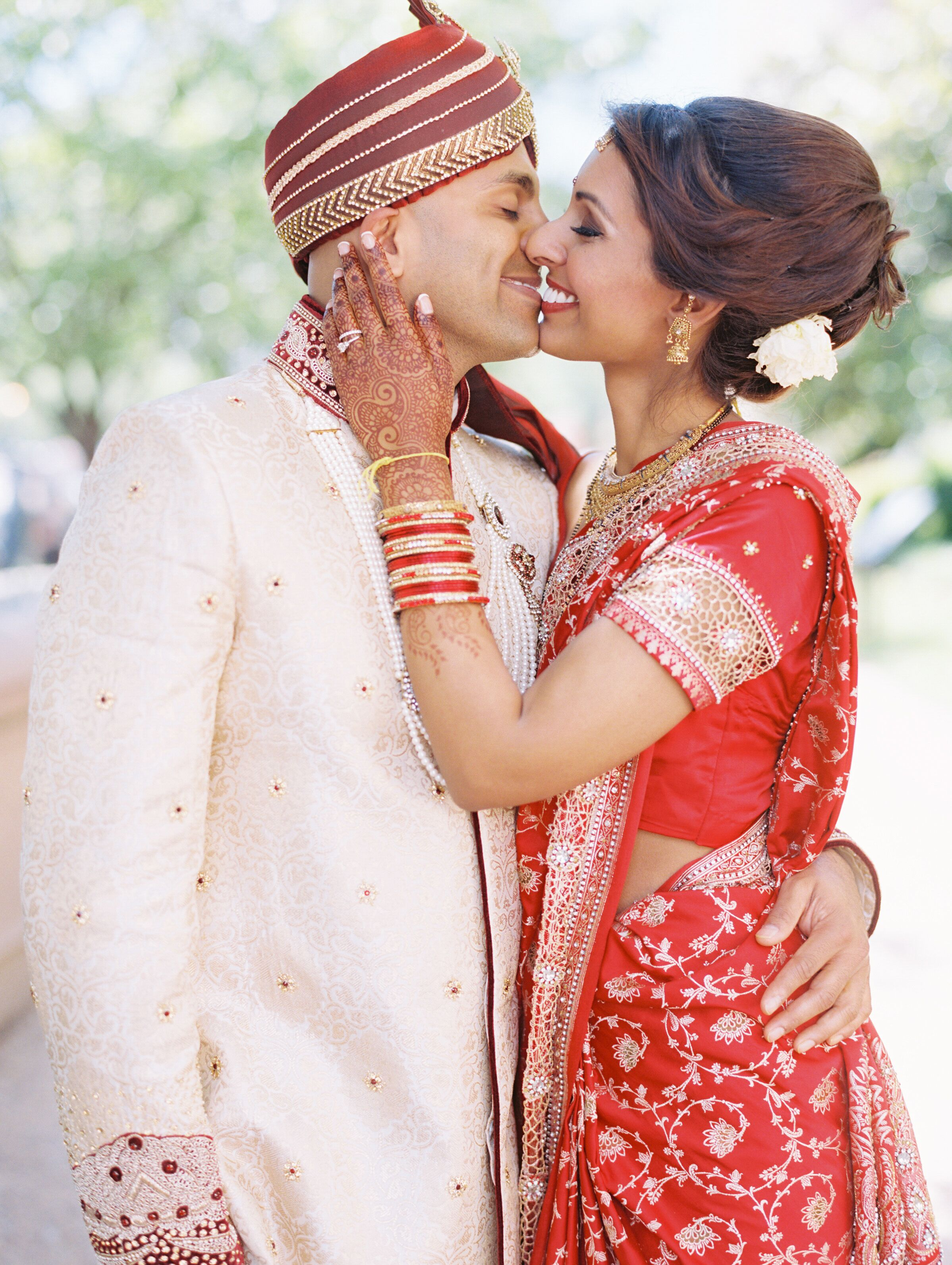 Bride and Groom in Traditional Indian Outfits for Ceremony