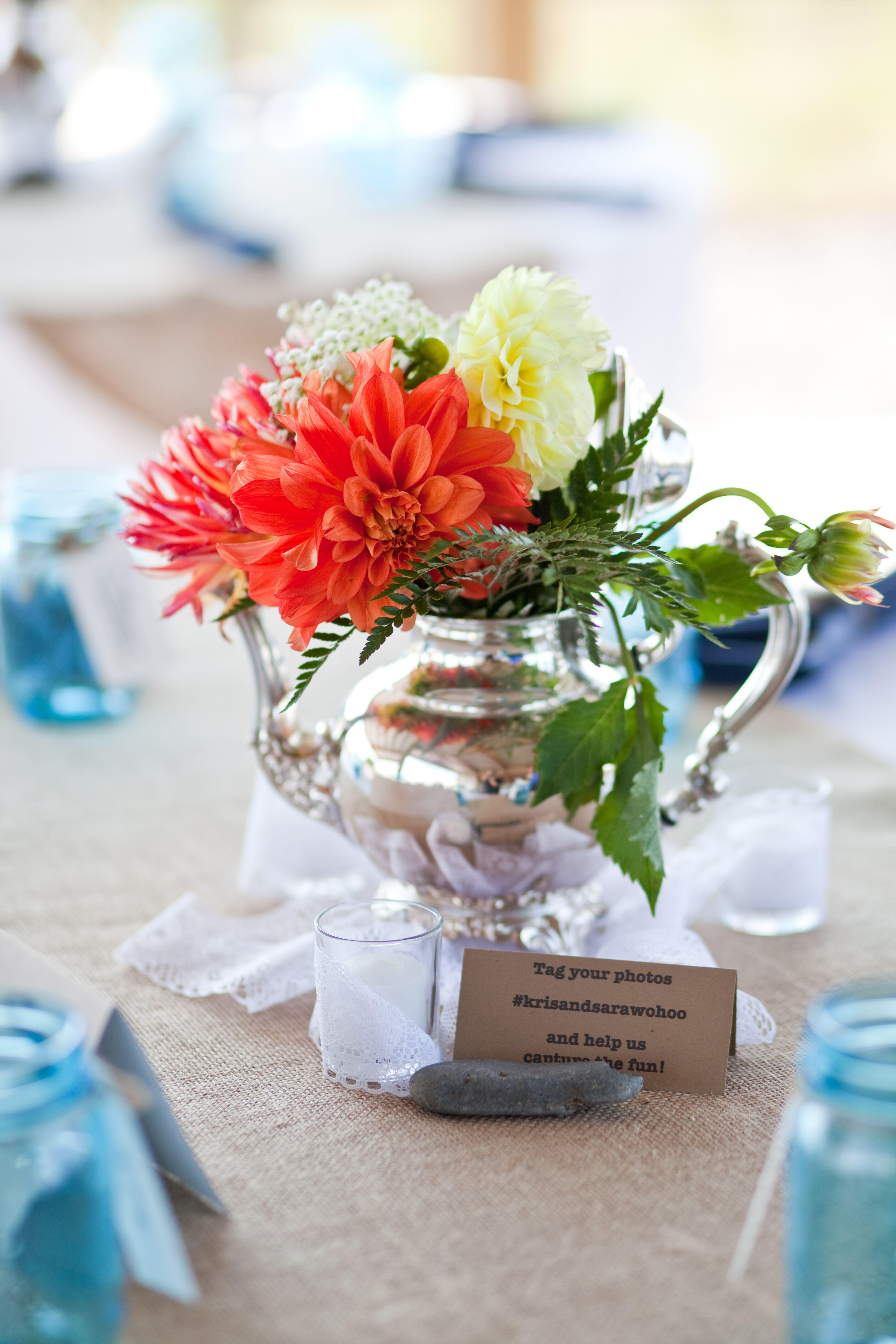 Antique Silver Teapot Flower Centerpiece
