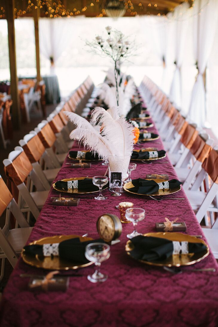 Burgundy Black And Gold Steampunk Reception Decor