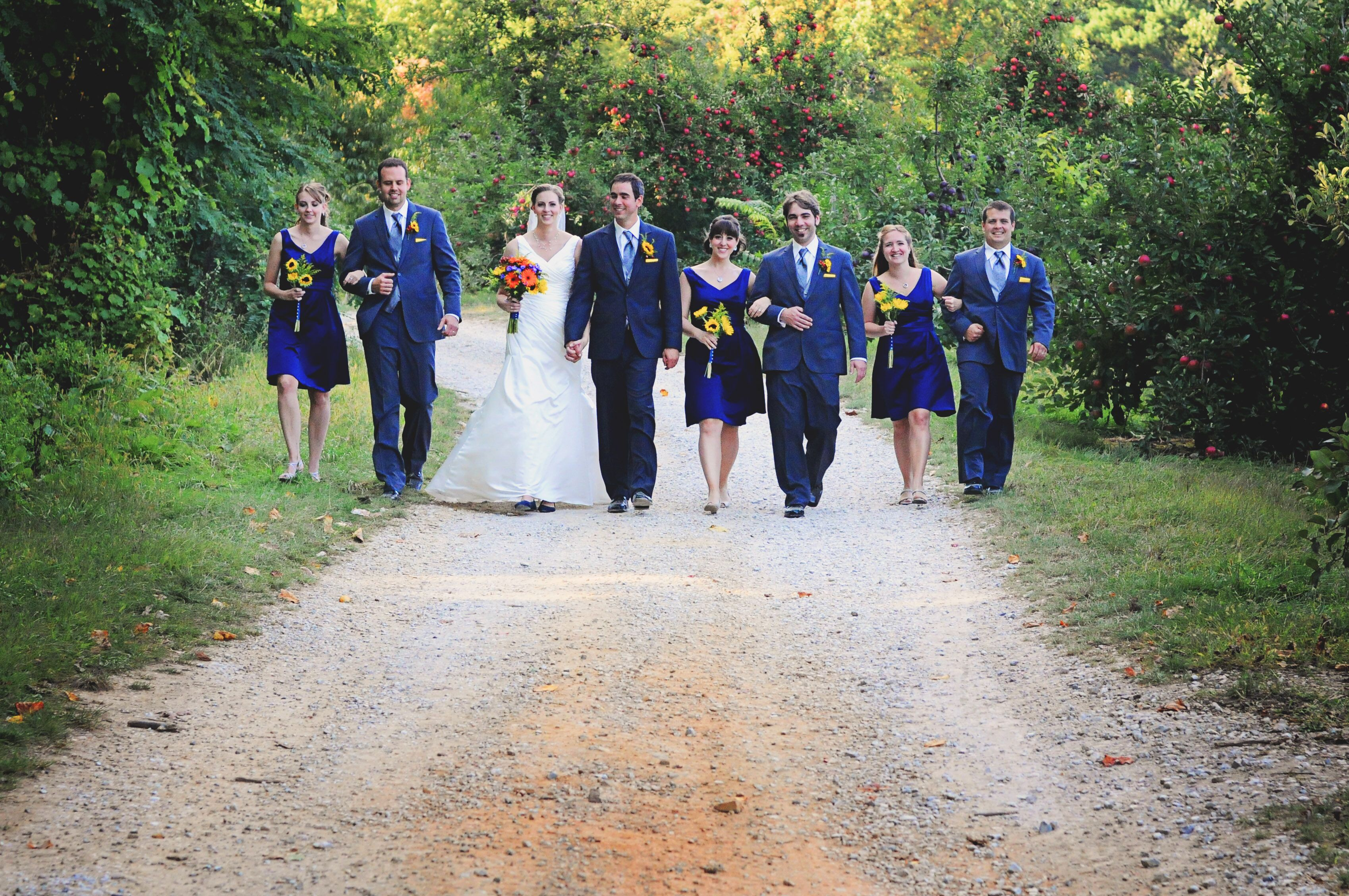 Fashion style Bridesmaid navy dresses and gray suits for lady