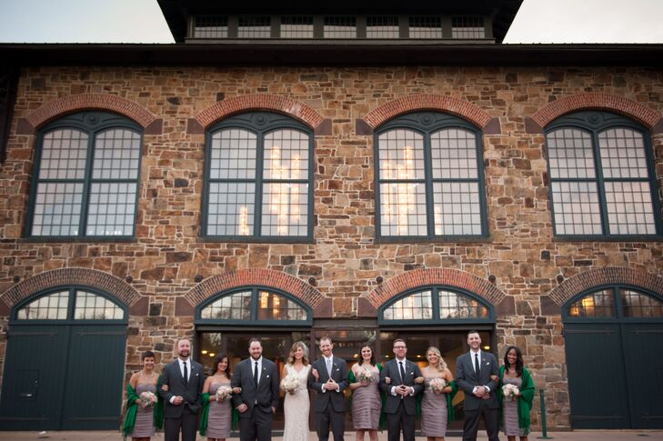 Green Pashminas and Gray Groomsmen Suits