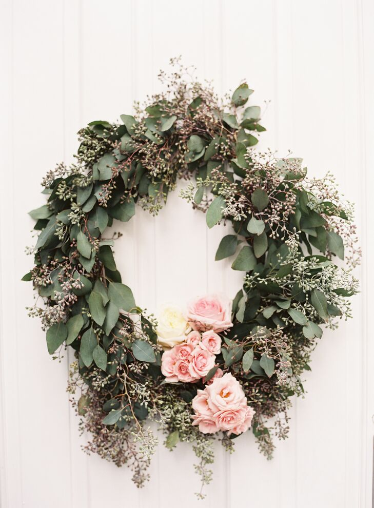 Seeded Eucalyptus and Pink Rose Wreath