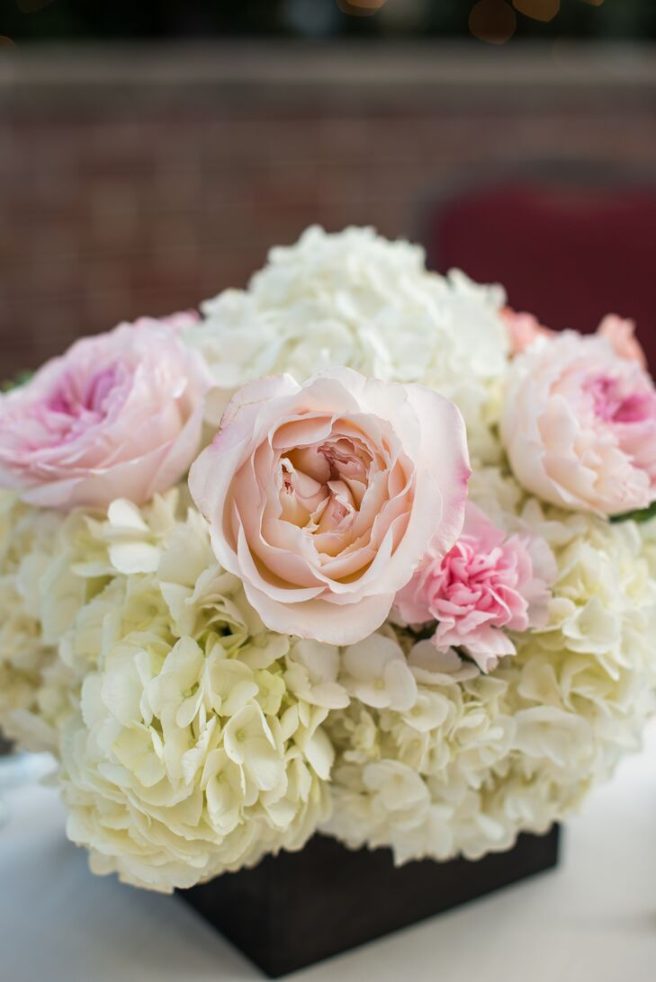 Rose carnation hydrangea centerpieces