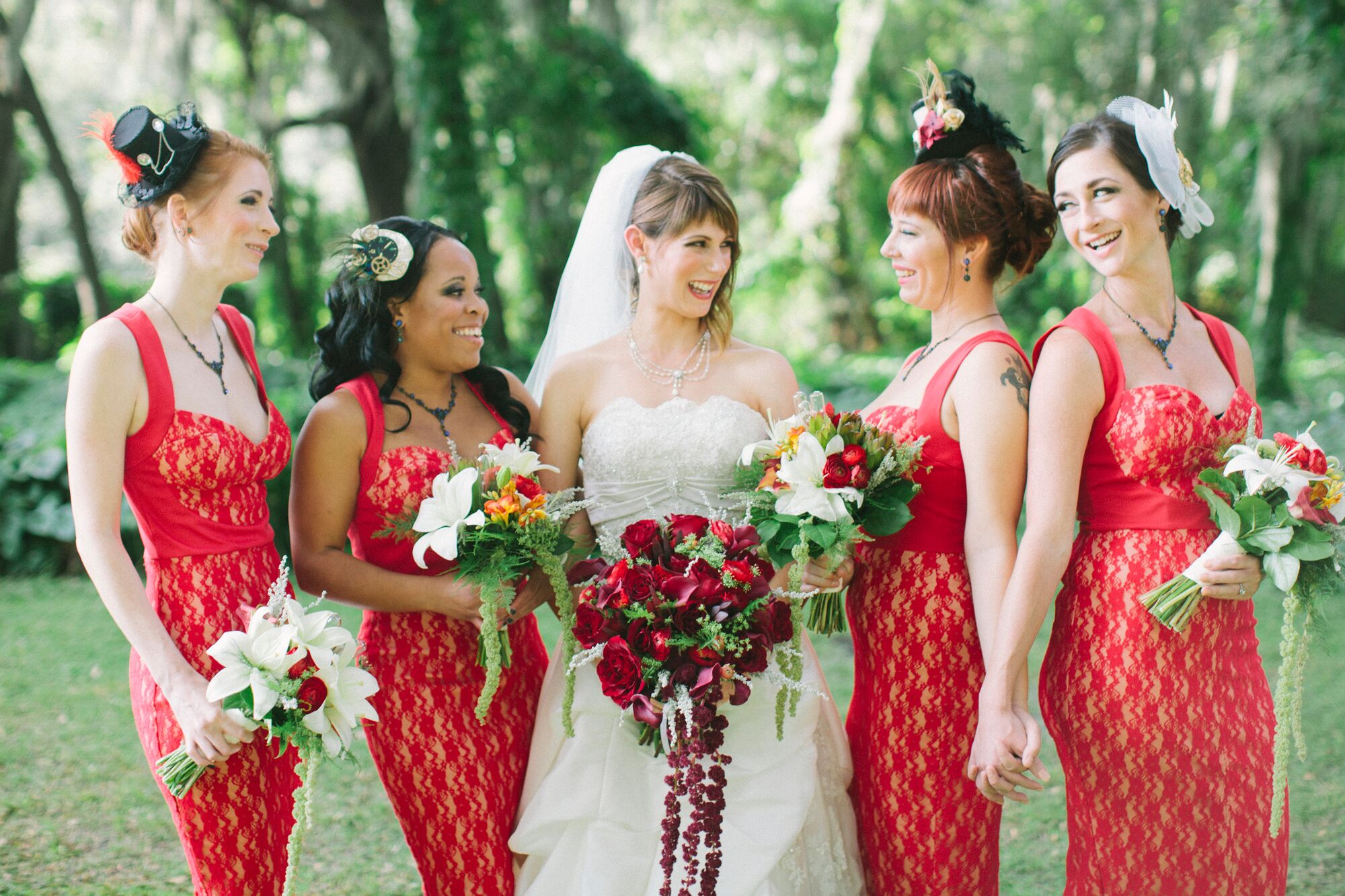 Alternative bridesmaid dresses red lace bridesmaid dresses and steampunk headpieces ombrellifo Choice Image