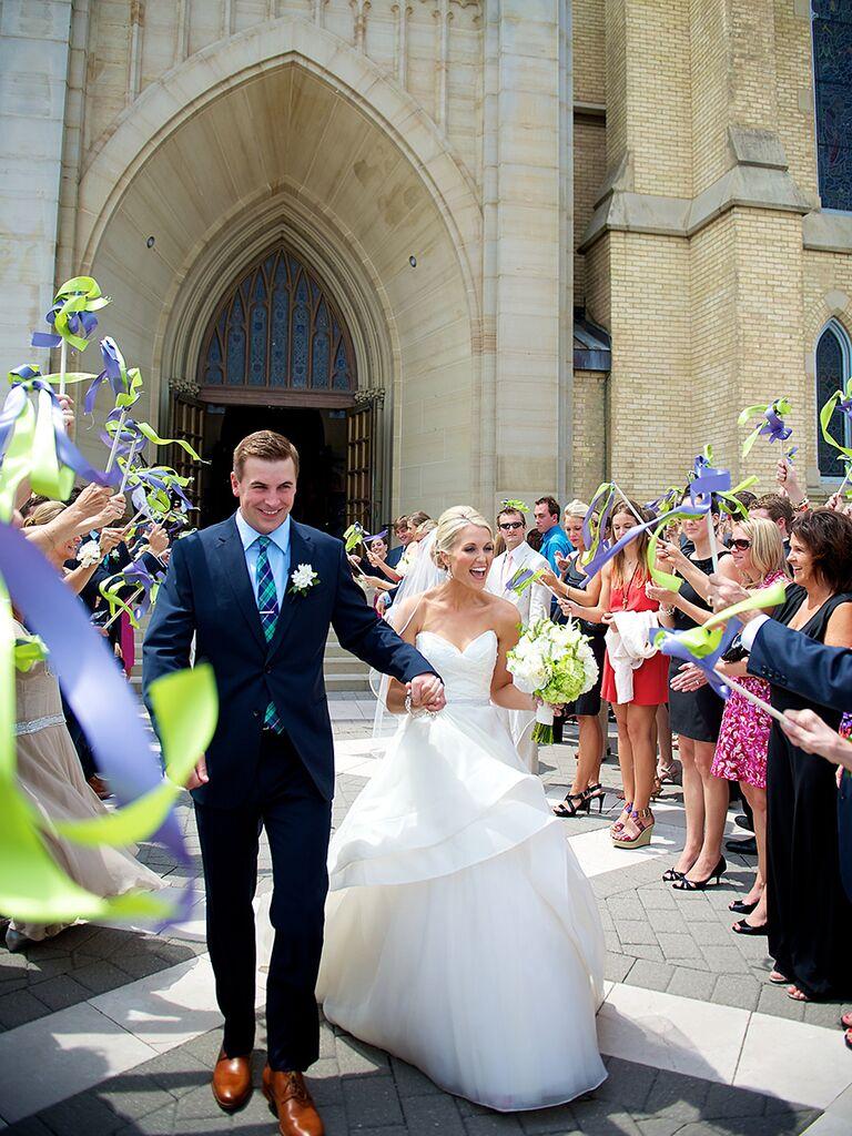 DIY Ribbon Wand Wedding Exit