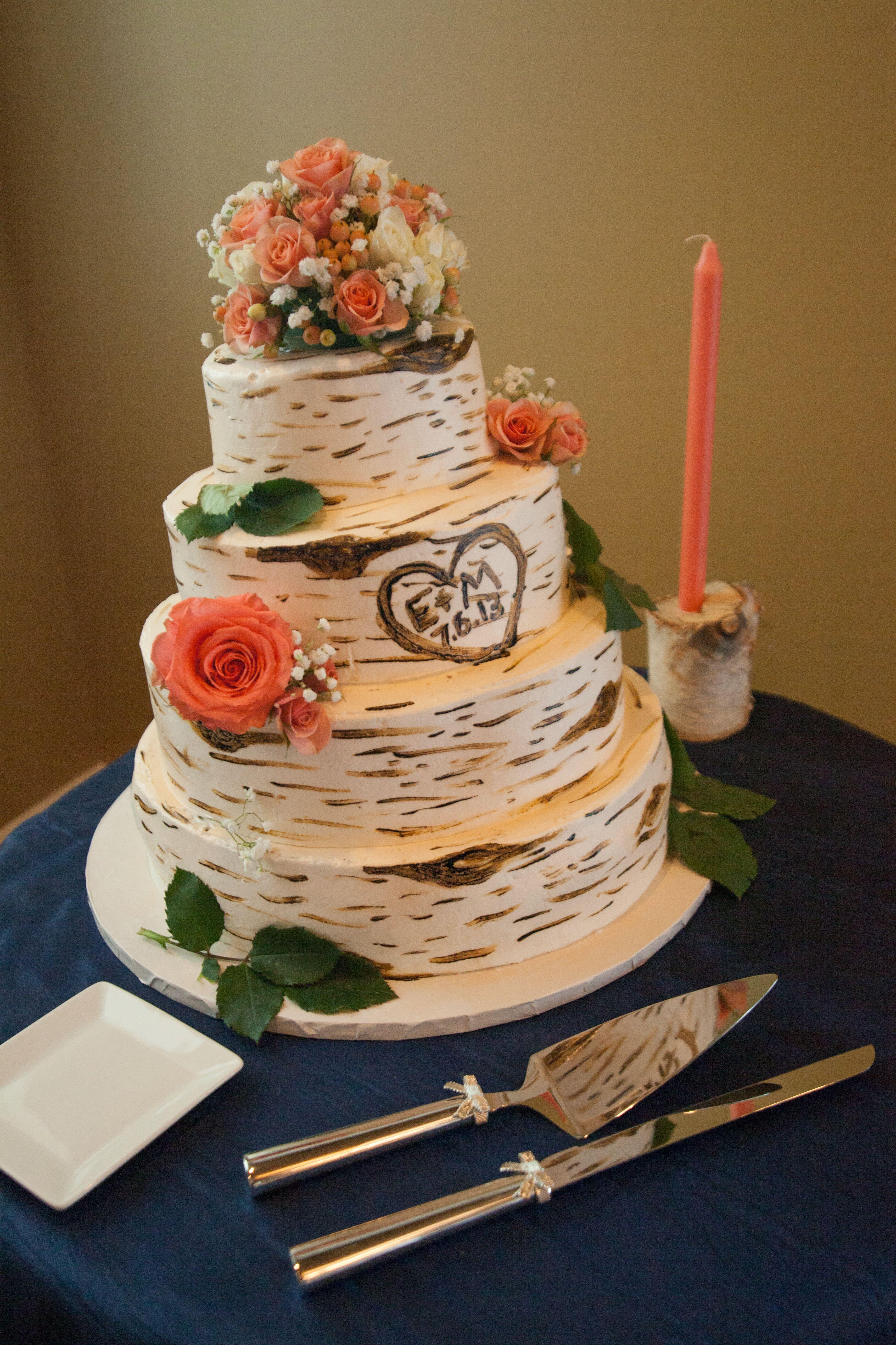 rustic coral wedding cakes desserts