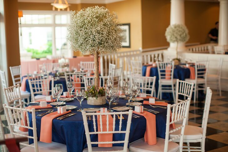 Navy And Coral Reception Table Linens With Tall Babyu0027s Breath Centerpieces