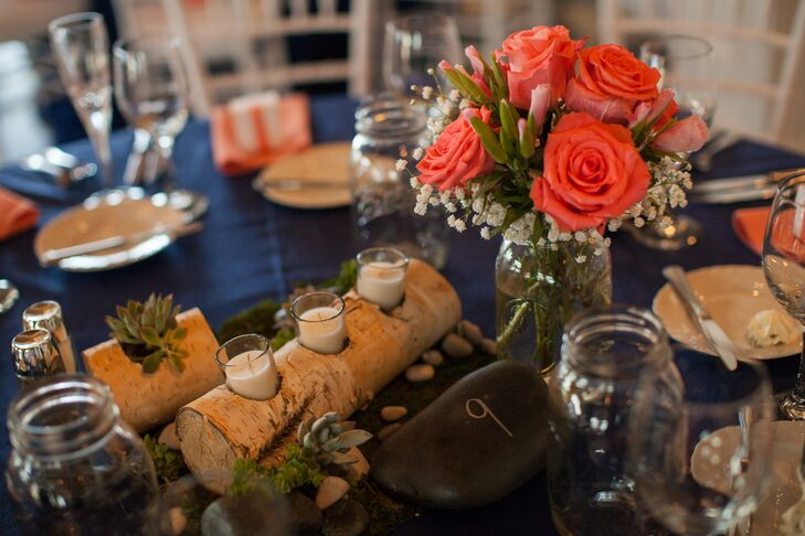 C Rose Centerpieces With Natural Birch Wood Candle Holders And Succulents