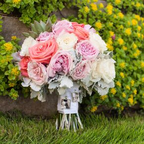 pink and coral garden rose and dusty miller bouquet with rhinestones