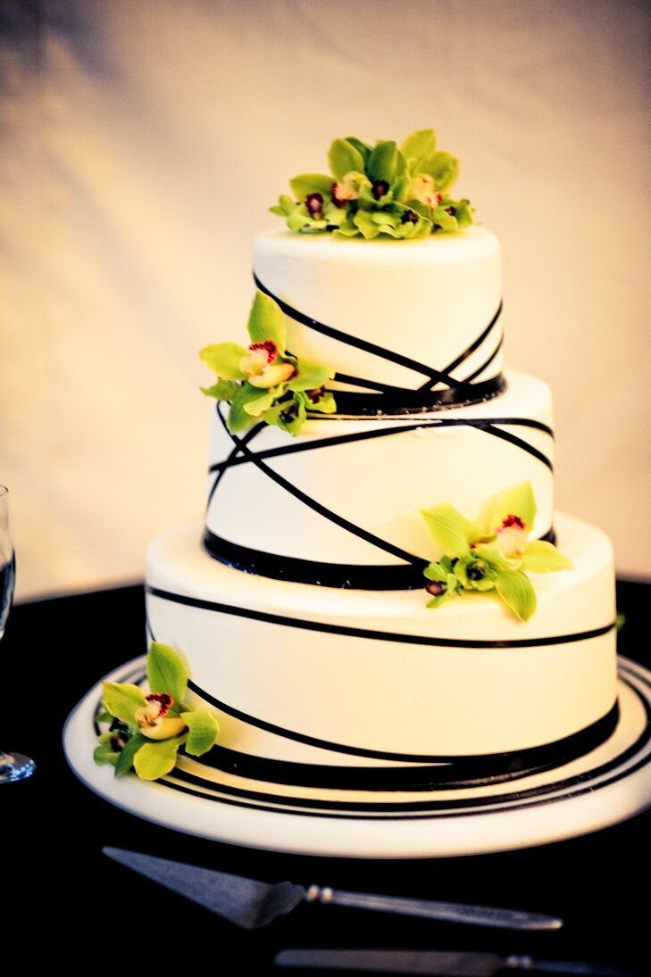 Three-Tier Black, White and Lime Green Cake