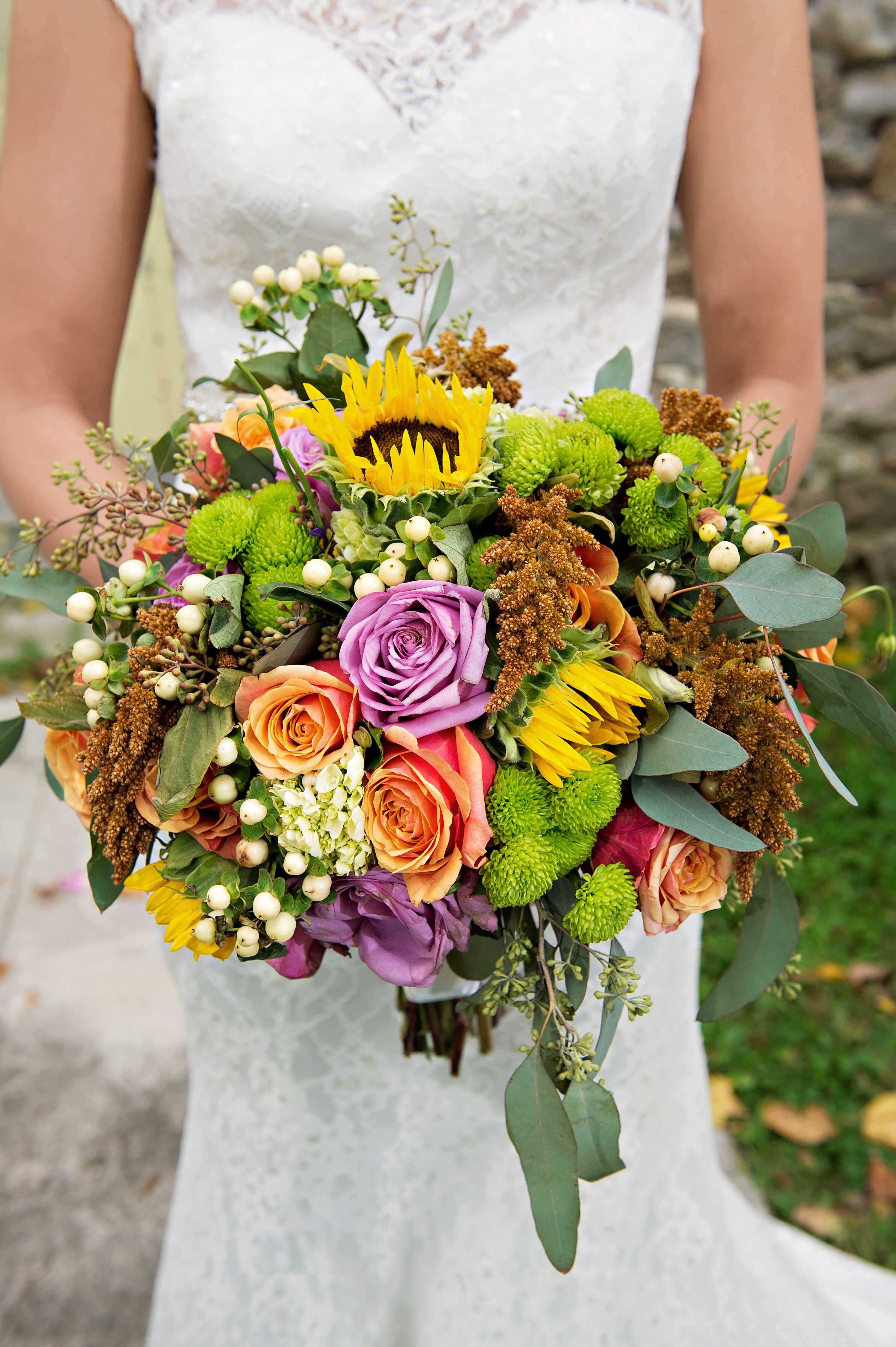 Fall Bridal Bouquet With Sunflowers And Eucalyptus