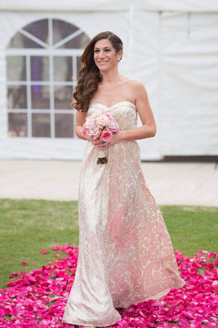 Aidan mattox gold paisley bridesmaid dress ombrellifo Choice Image