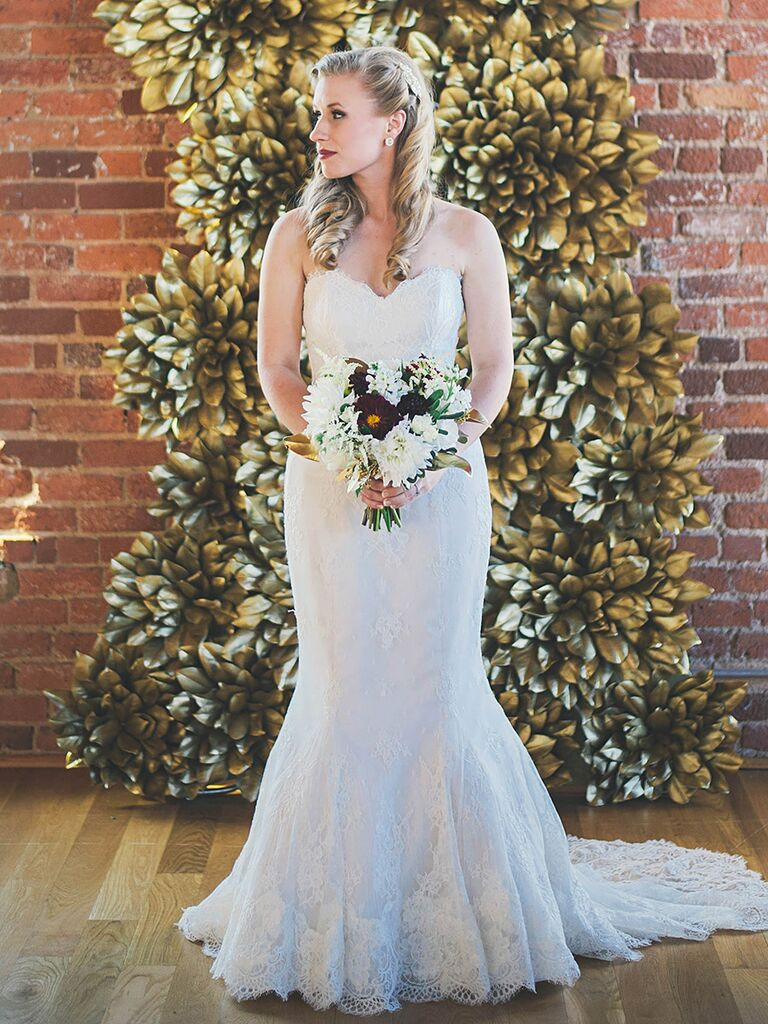 Simple Fit And Flare Lace Wedding Gown