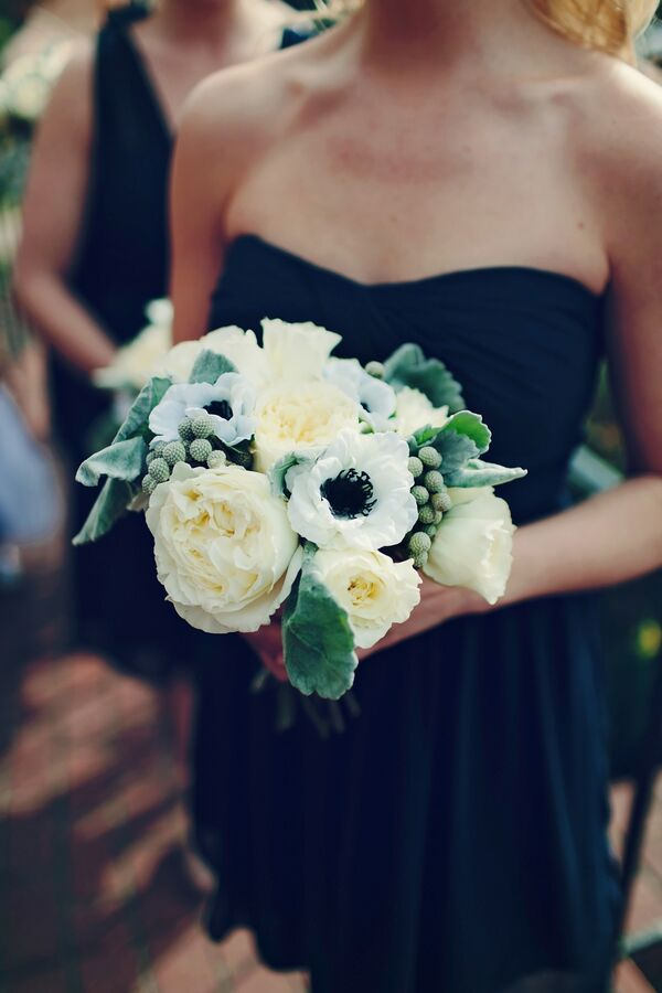 White And Navy Bridal Bouquet With Anemones