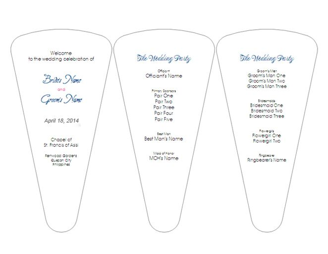 Creative Wedding Ceremony Program DIY Templates - 5x7 wedding program template