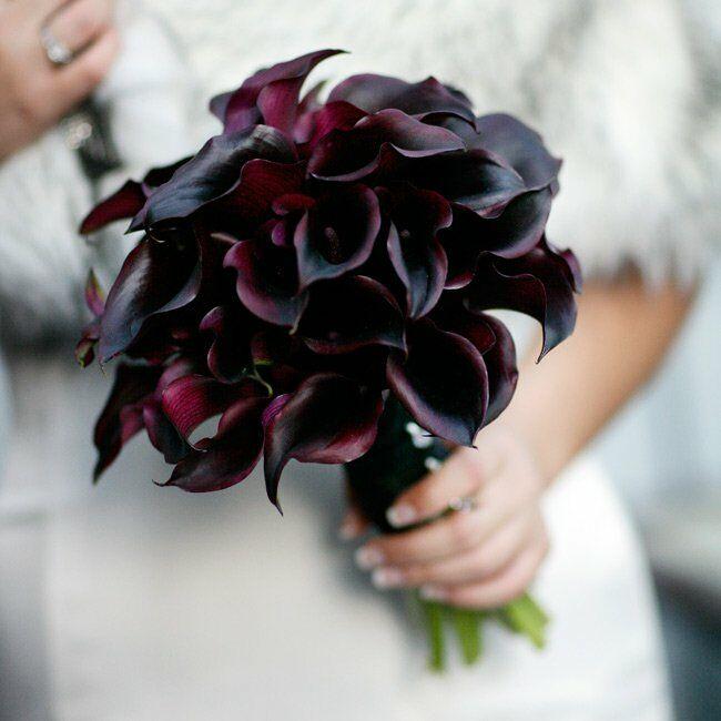 Black Wedding Flowers: Dark Purple Calla Lily Wedding Bouquet