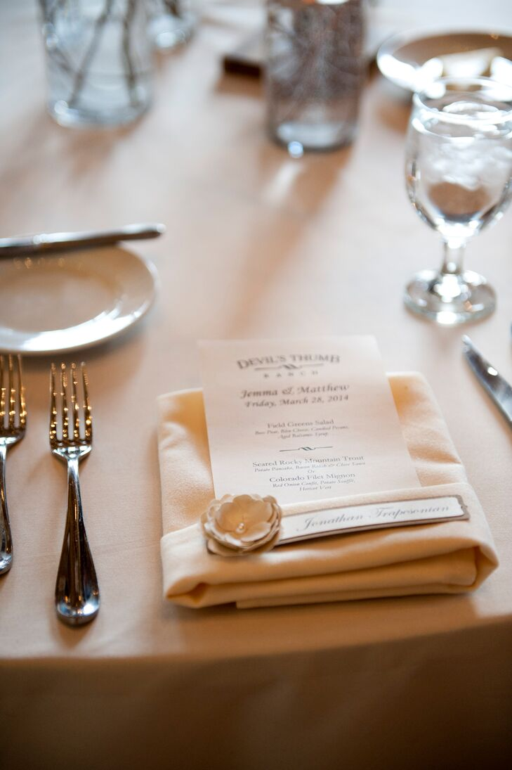 Classic Menu Cards with Burlap Flower Place Cards